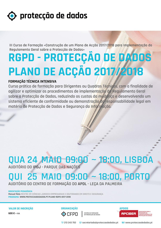 Cartaz do III Curso Plano de Acção RGPD - 24 e 25 de Maio de 2017
